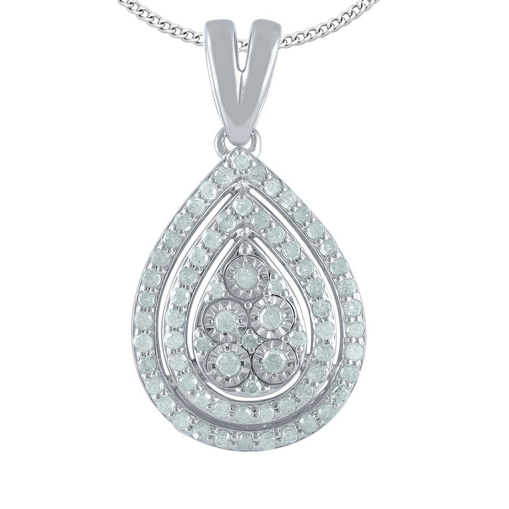 Sterling Silver 0.50ct Diamond Pear Necklace Necklaces Bevilles