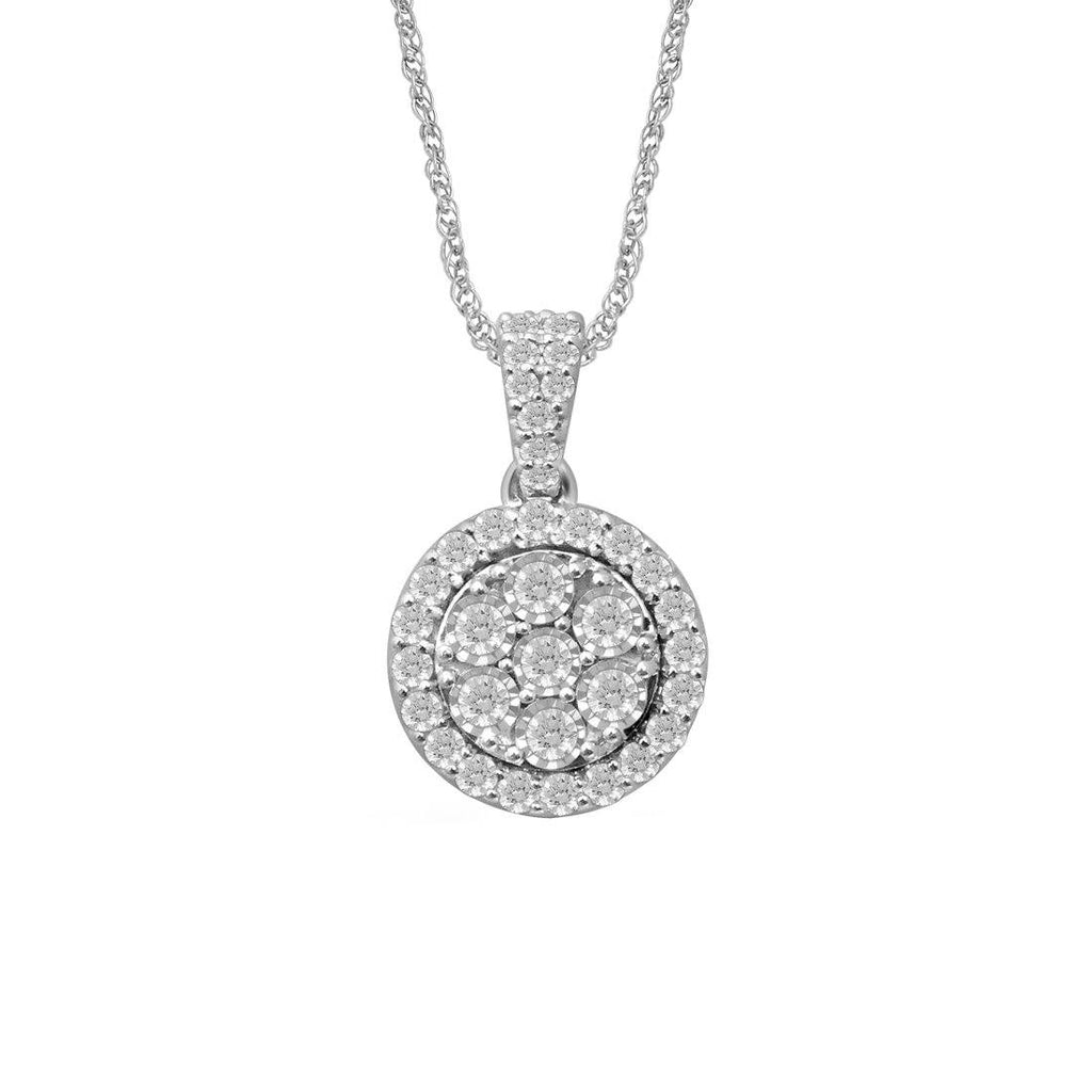 Sterling Silver 1.00ct Diamonds Cluster Round Necklace Necklaces Bevilles