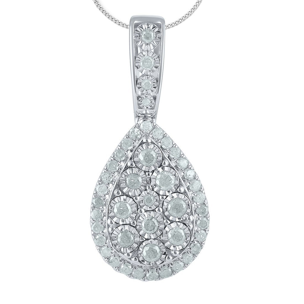 Sterling Silver 1.00ct Diamond Pear Necklace