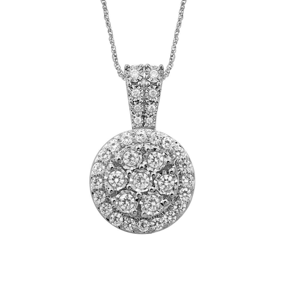 Sterling Silver 1.00ct of Diamonds Halo Necklace Necklaces Bevilles