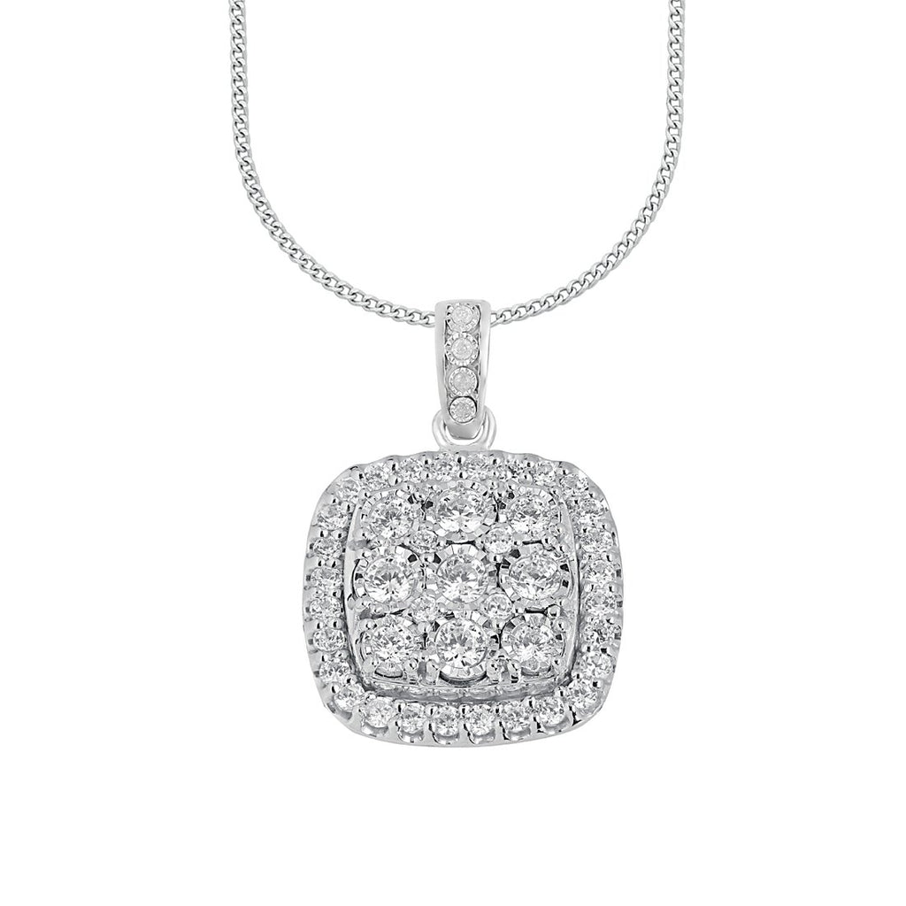 Miracle Halo Necklace with 1.00ct of Diamonds in Sterling Silver Necklaces Bevilles