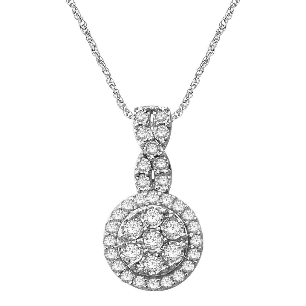 Sterling Silver 1.00ct Diamond Brilliant Illusion Cluster Necklace Necklaces Bevilles