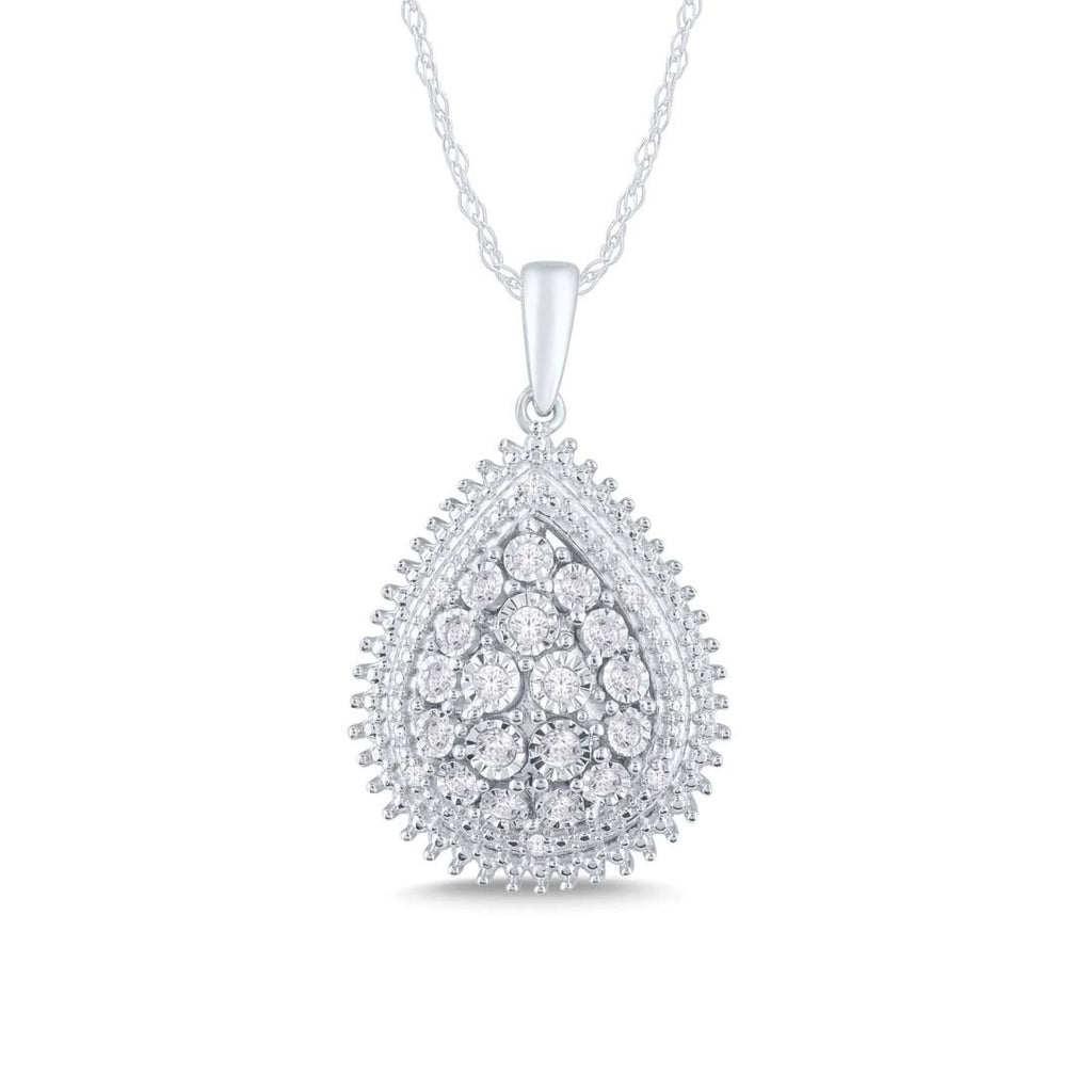 Sterling Silver 0.25ct Diamond Pear Necklace