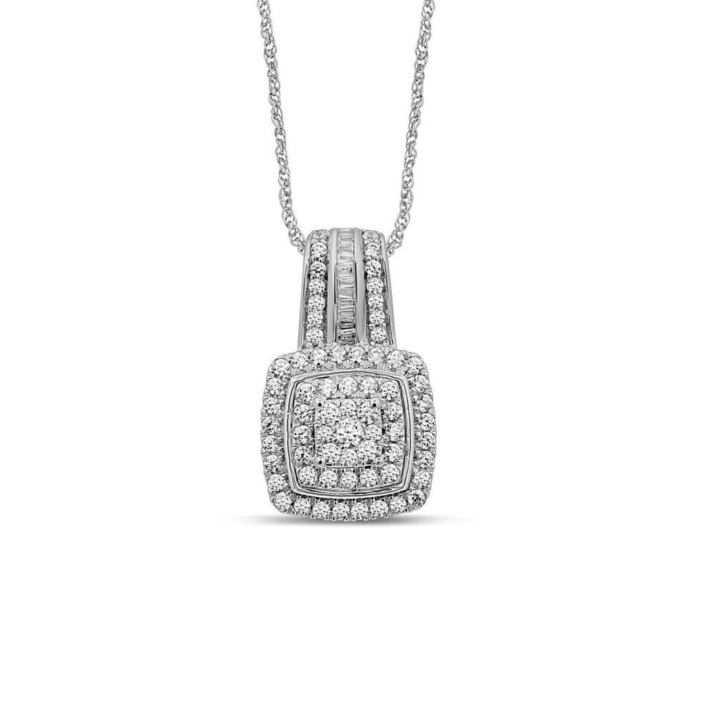Sterling Silver 1.00ct Diamond Square Look Necklace Necklaces Bevilles