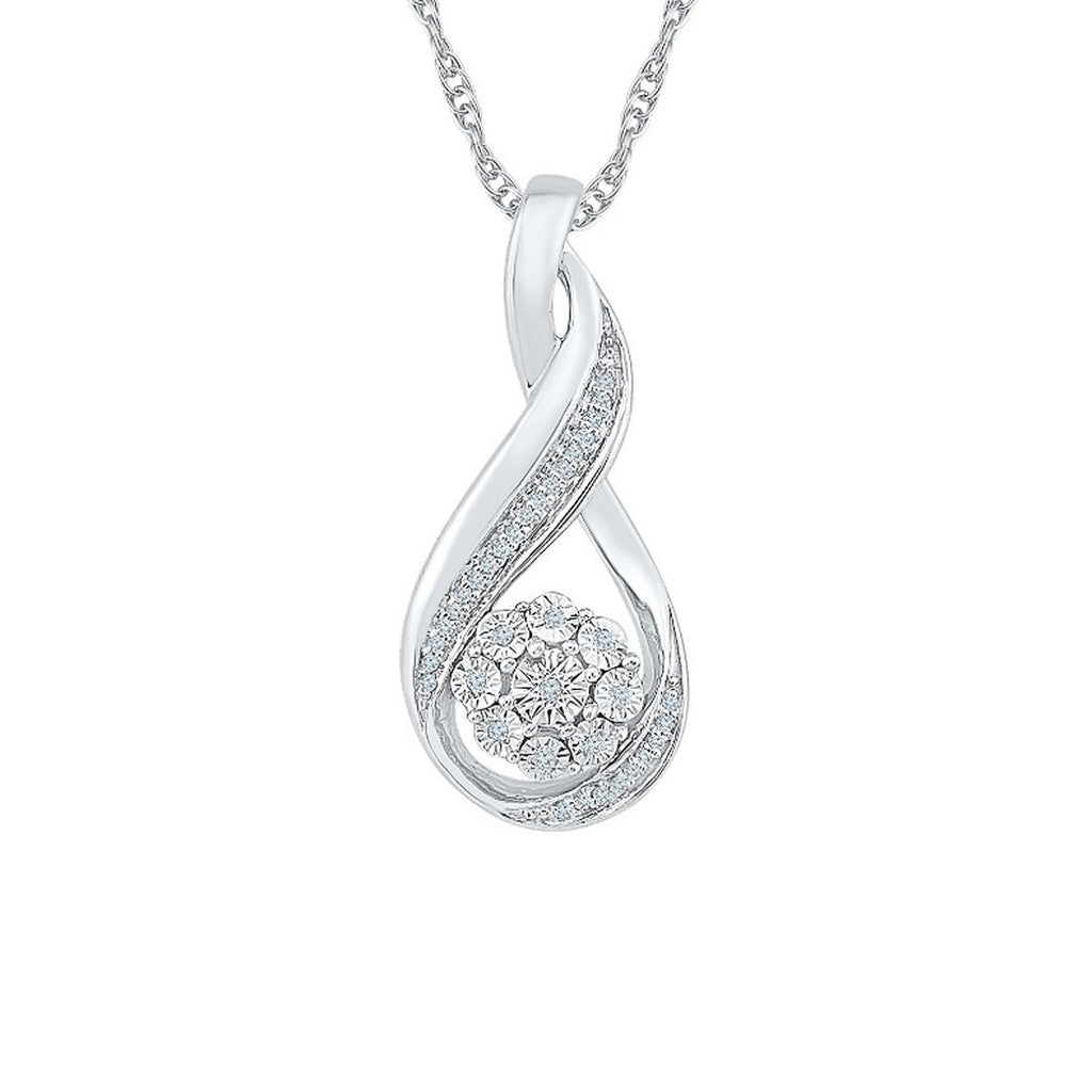 Sterling Silver Diamond Set Brilliant Flower Swirl Necklace