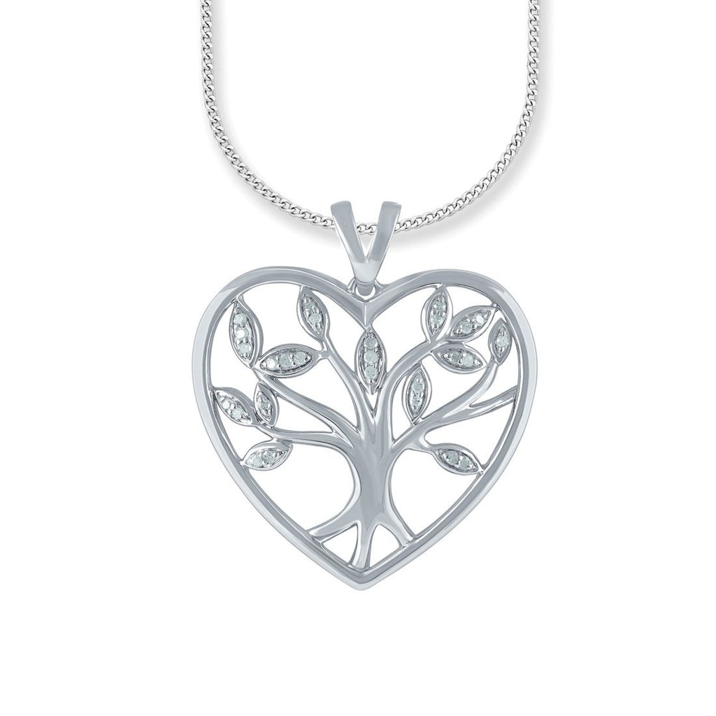 Sterling Silver 0.10ct Diamond Tree of Life Necklace