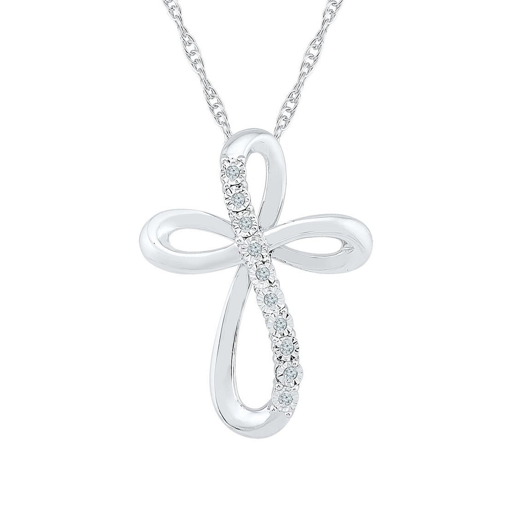 Sterling Silver 0.05ct Diamond Swirl Cross Necklace