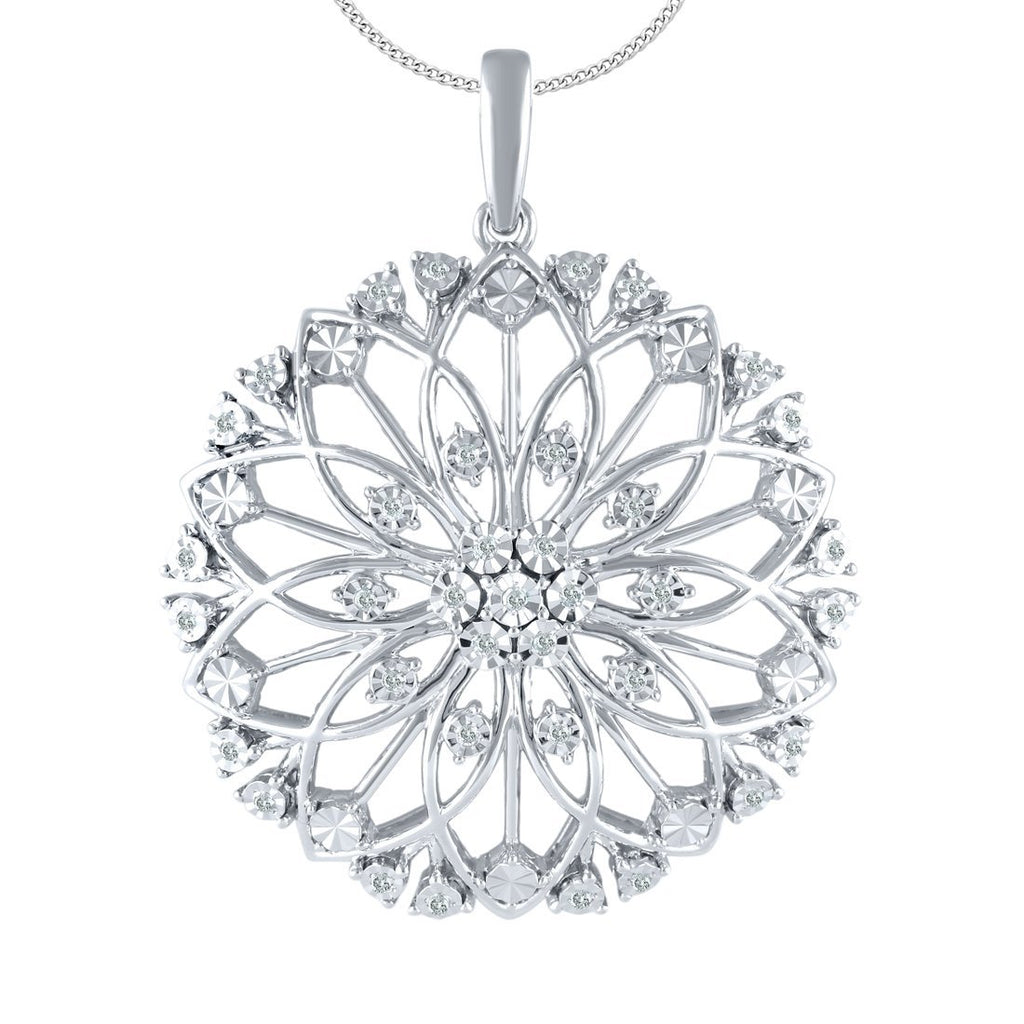 Sterling Silver 0.15ct Diamond Sunflower Necklace