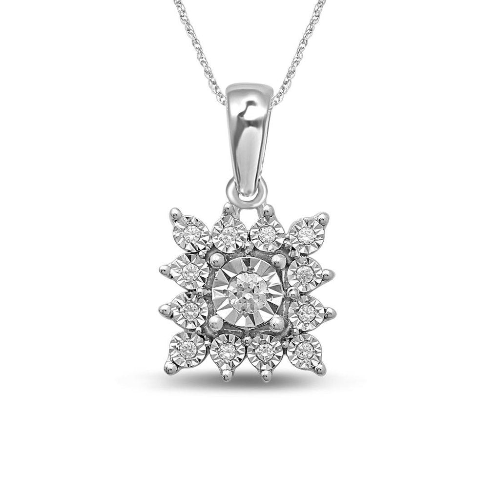 Sterling Silver 0.10ct Diamond Square Star Look Necklace