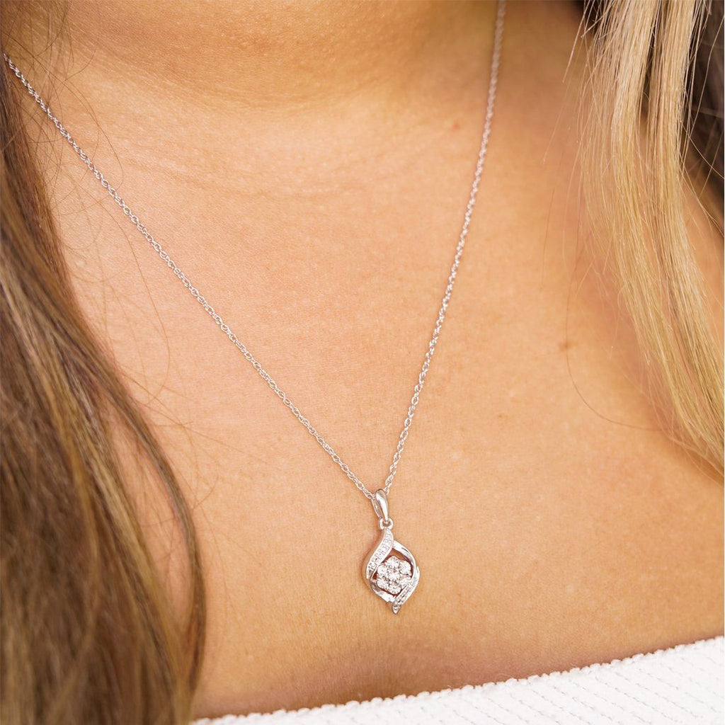 Sterling Silver Diamond Set Flame Necklace Necklaces Bevilles