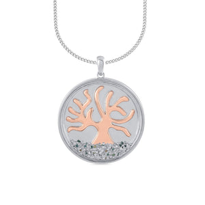 Tree of Life Necklace with 1.00ct of Diamonds in Sterling Silver & Rose Gold