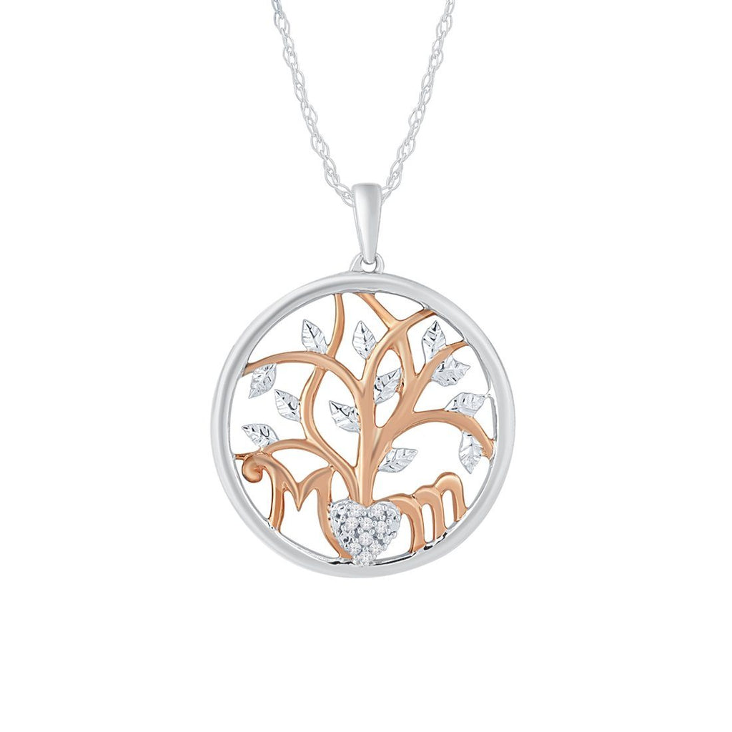 Sterling Silver Diamond Set Mum Tree of Life Necklace Necklaces Bevilles