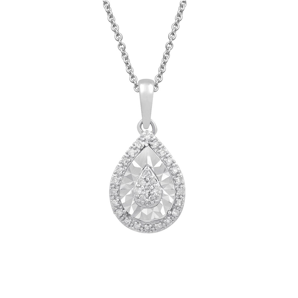 Sterling Silver 0.10ct Diamond Pear Necklace