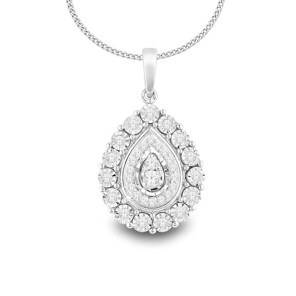 Sterling Silver Pear Shaped Necklace with 0.20ct of Diamonds Necklaces Bevilles
