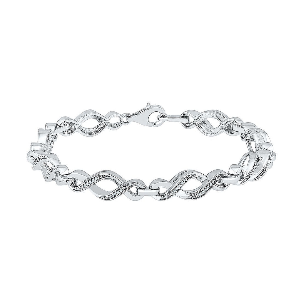 Sterling Silver 0.15ct Diamond Swirl Link Bracelet