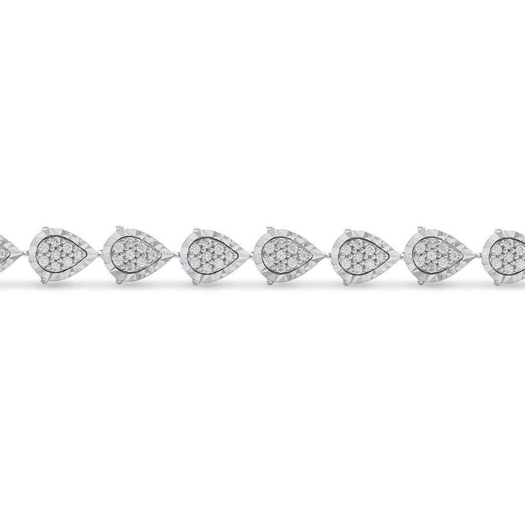 Sterling Silver 1.00ct Diamond Pear Tennis Bracelet Bracelets Bevilles