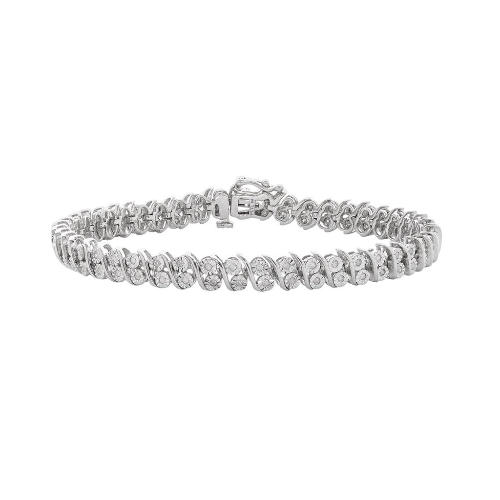Sterling Silver 0.50ct Diamond Swirl Bracelet