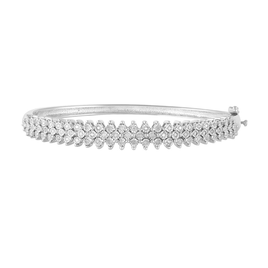 Sterling Silver 0.40ct Diamond Dress Bangle Bracelets Bevilles