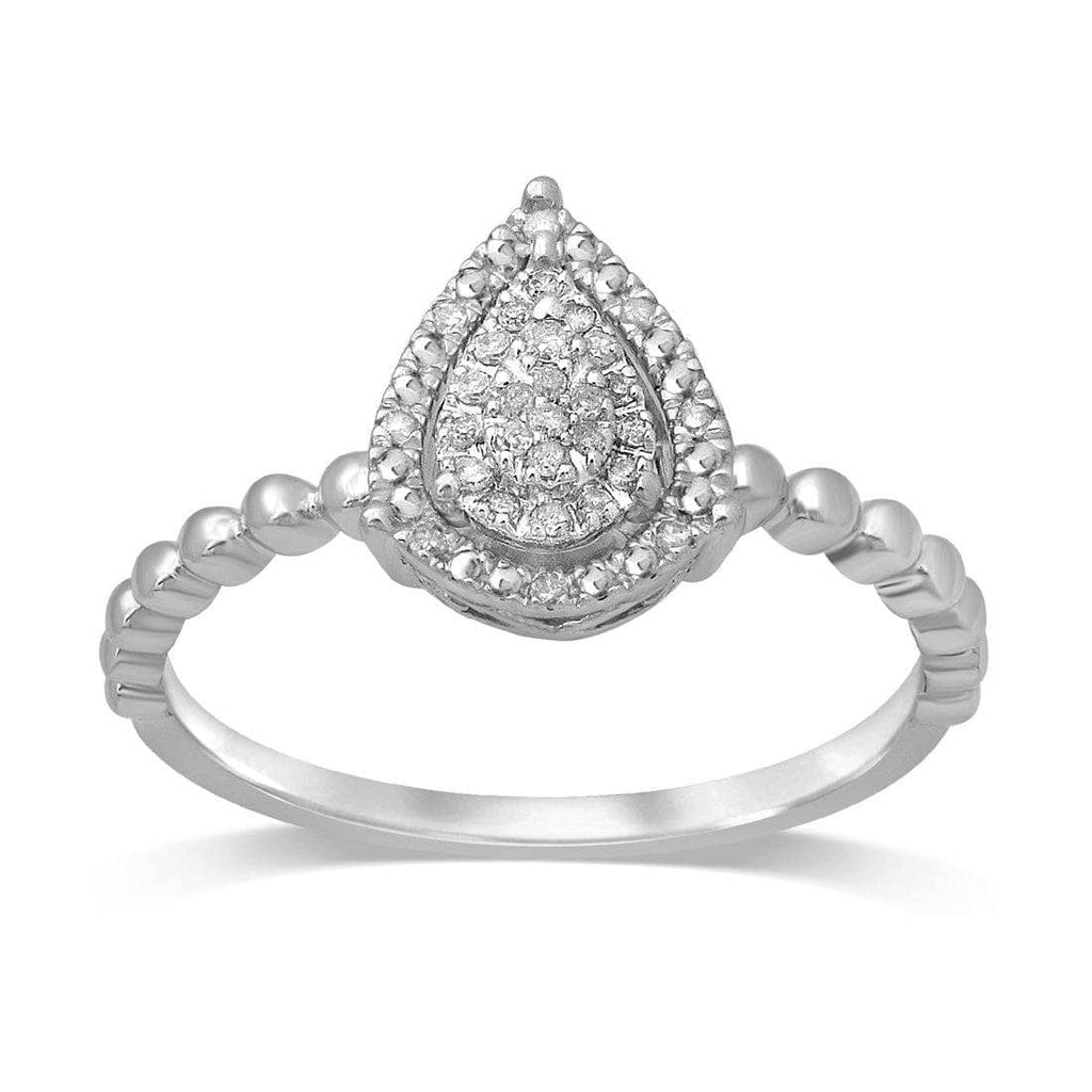 Sterling Silver 0.10ct Diamond Stackable Pear Ring Rings Bevilles
