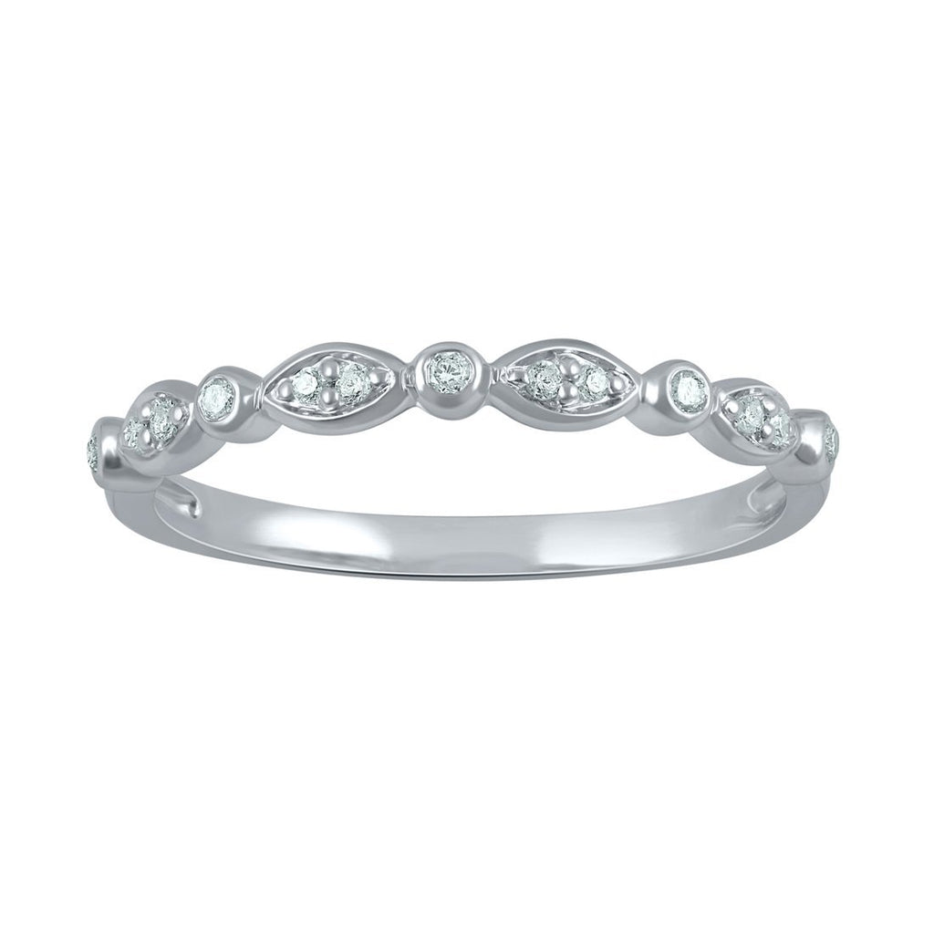 Sterling Silver 0.09ct Diamond Stackable Eternity Ring Rings Bevilles