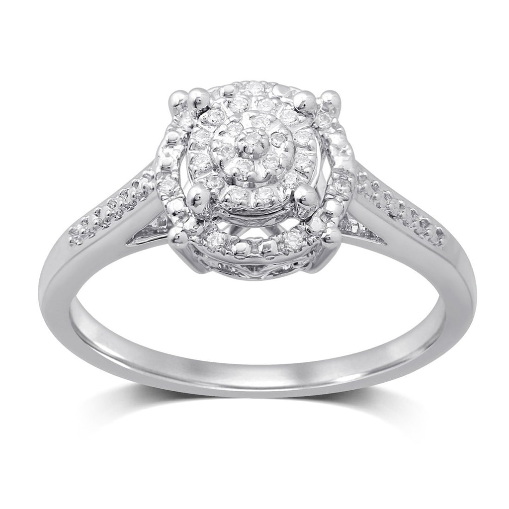 Martina Solitaire Look Halo Ring with 0.10ct of Diamonds in Sterling Silver Rings Bevilles