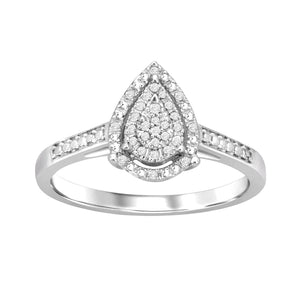 Sterling Silver 0.10ct Diamonds Pear Shape Ring