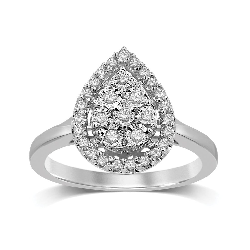 Sterling Silver 0.25ct Diamond Pear Ring