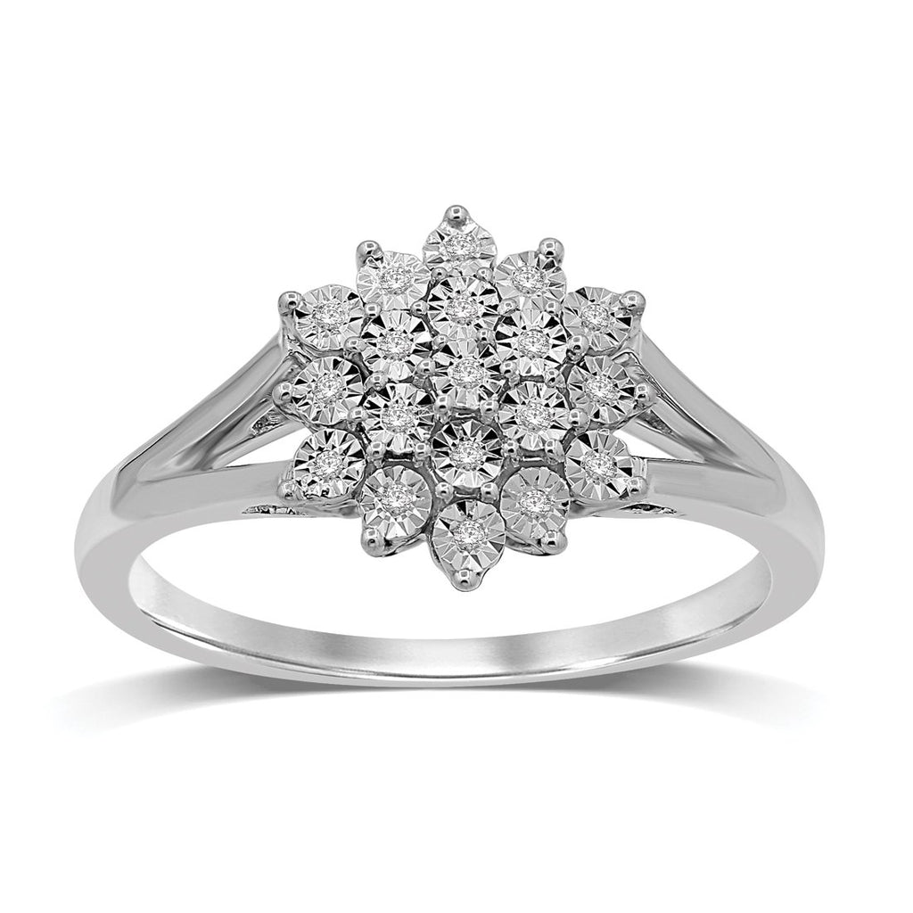 Sterling Silver 0.07ct Diamond Cluster Ring Rings Bevilles