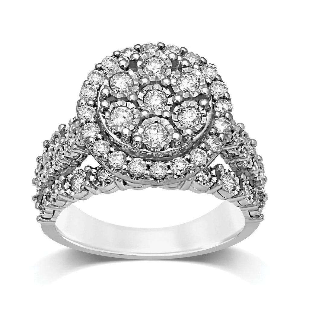 Sterling Silver 1.00ct of Diamonds Halo Ring