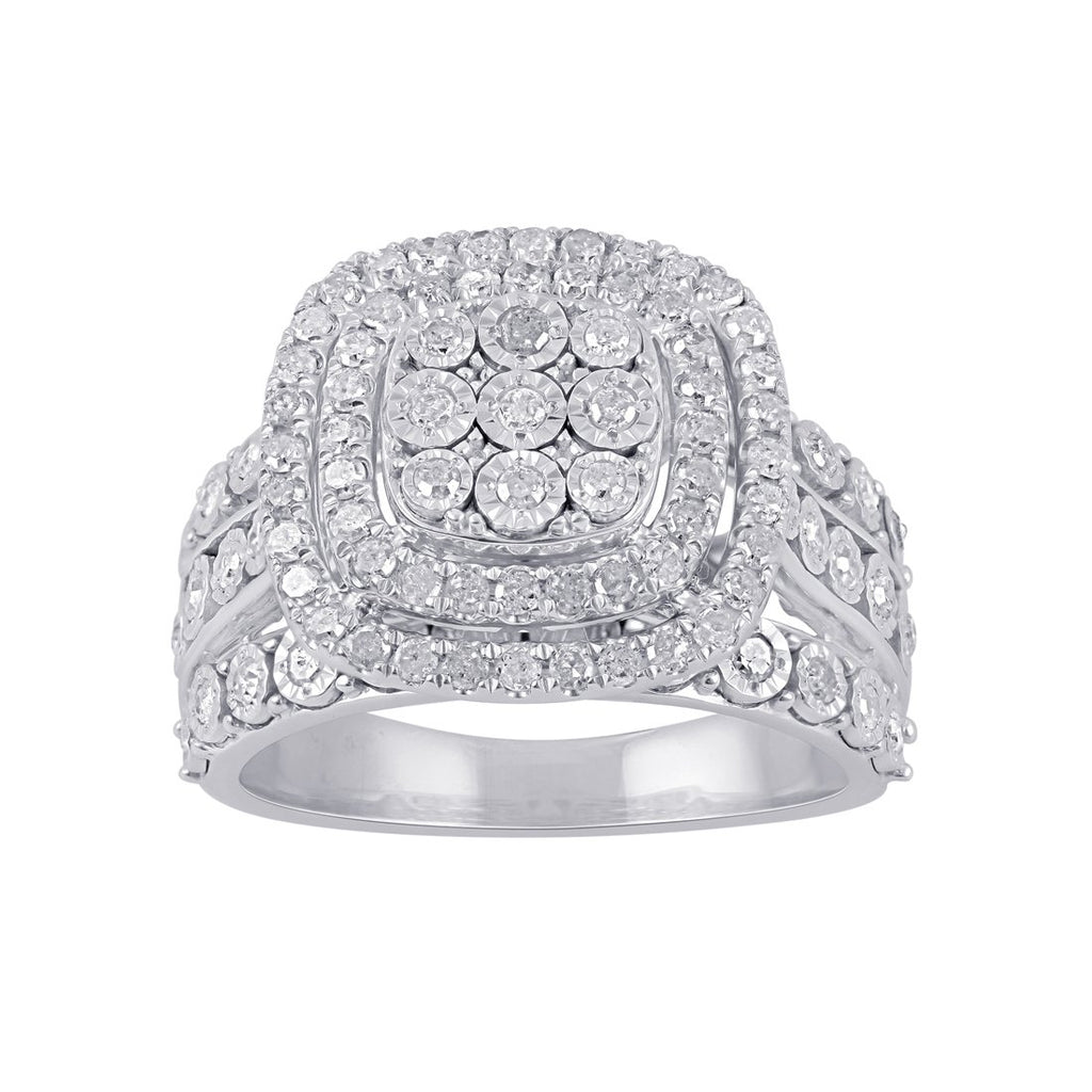 Brilliant Illusion Square Double Halo Ring with 1.00ct of Diamonds in Sterling Silver Rings Bevilles