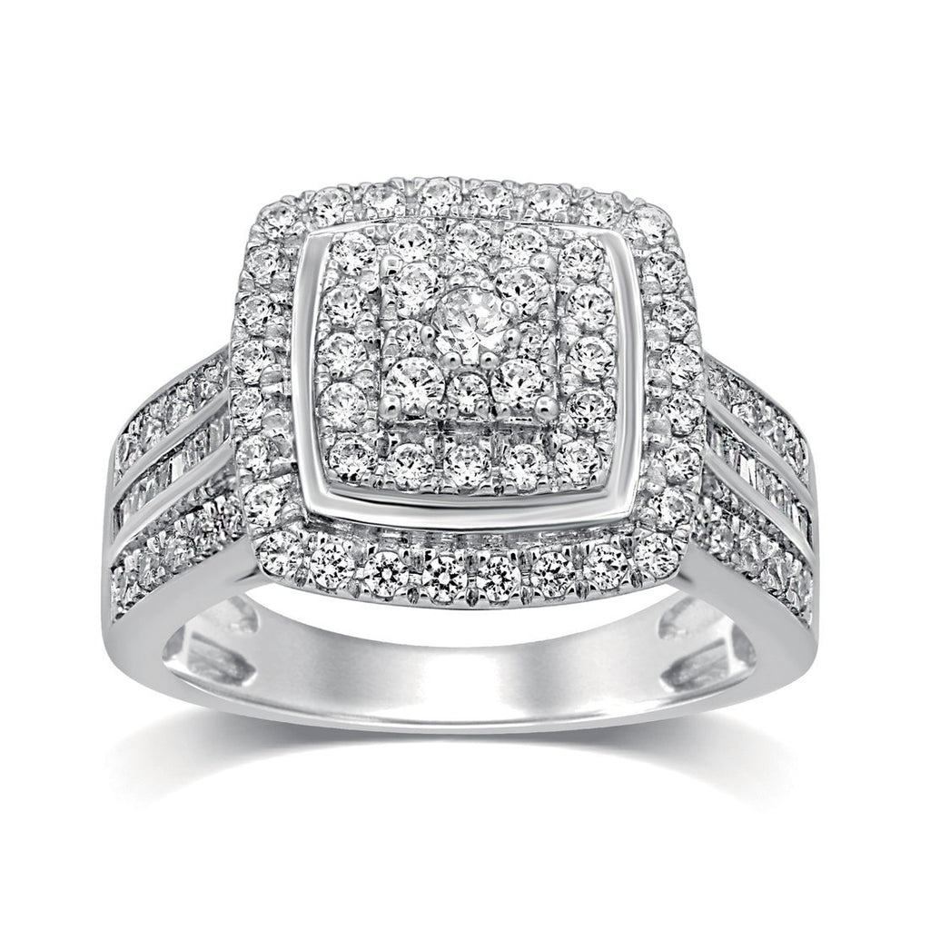 Brilliant Square Look Ring with 1.00ct of Diamonds in Sterling Silver