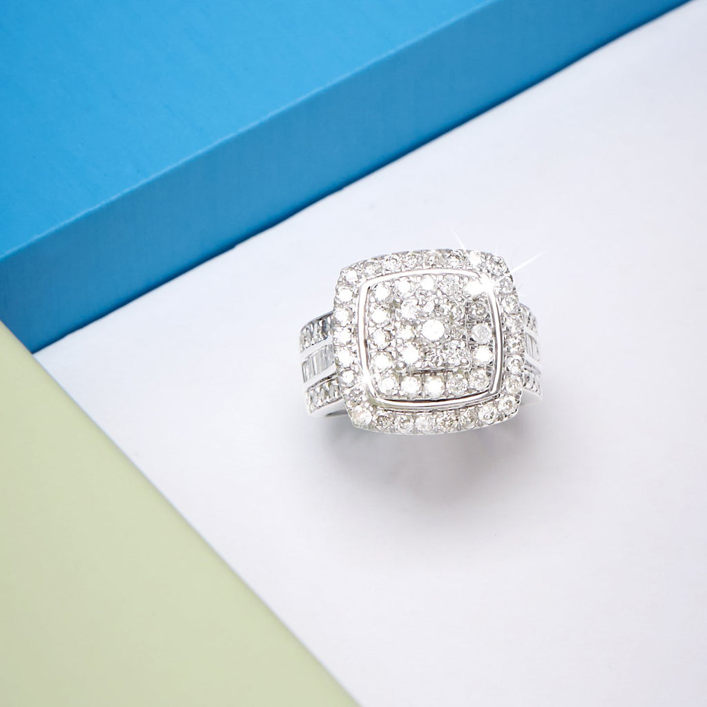 Brilliant Square Look Ring with 2.00ct of Diamonds in Sterling Silver Rings Bevilles