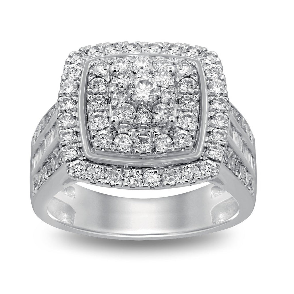 Sterling Silver Brilliant Square Look Ring with 2.00ct of Diamonds