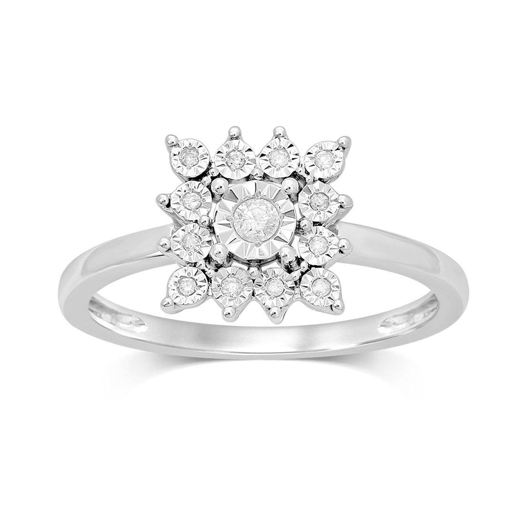 Sterling Silver 0.10ct Diamond Square Star Look Ring