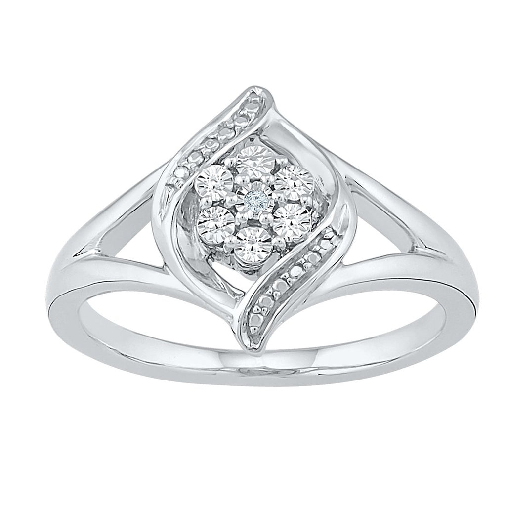 Sterling Silver Diamond Set Flame Ring