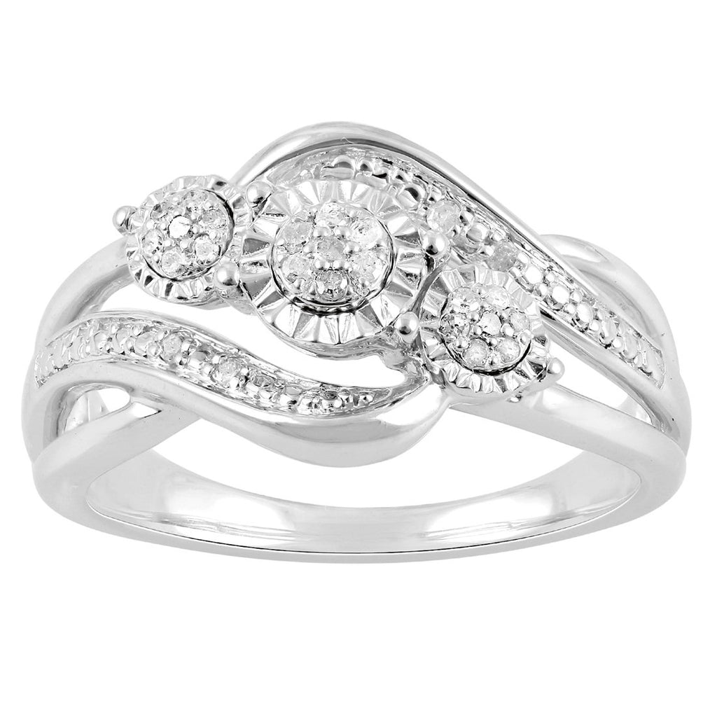 Sterling Silver 0.12ct Diamond Brilliant Illusion Ring Rings Bevilles