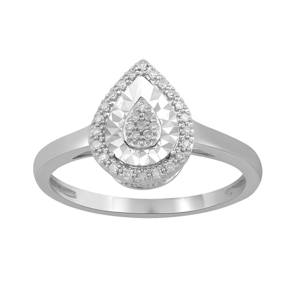 Sterling Silver 0.10ct Diamond Pear Ring