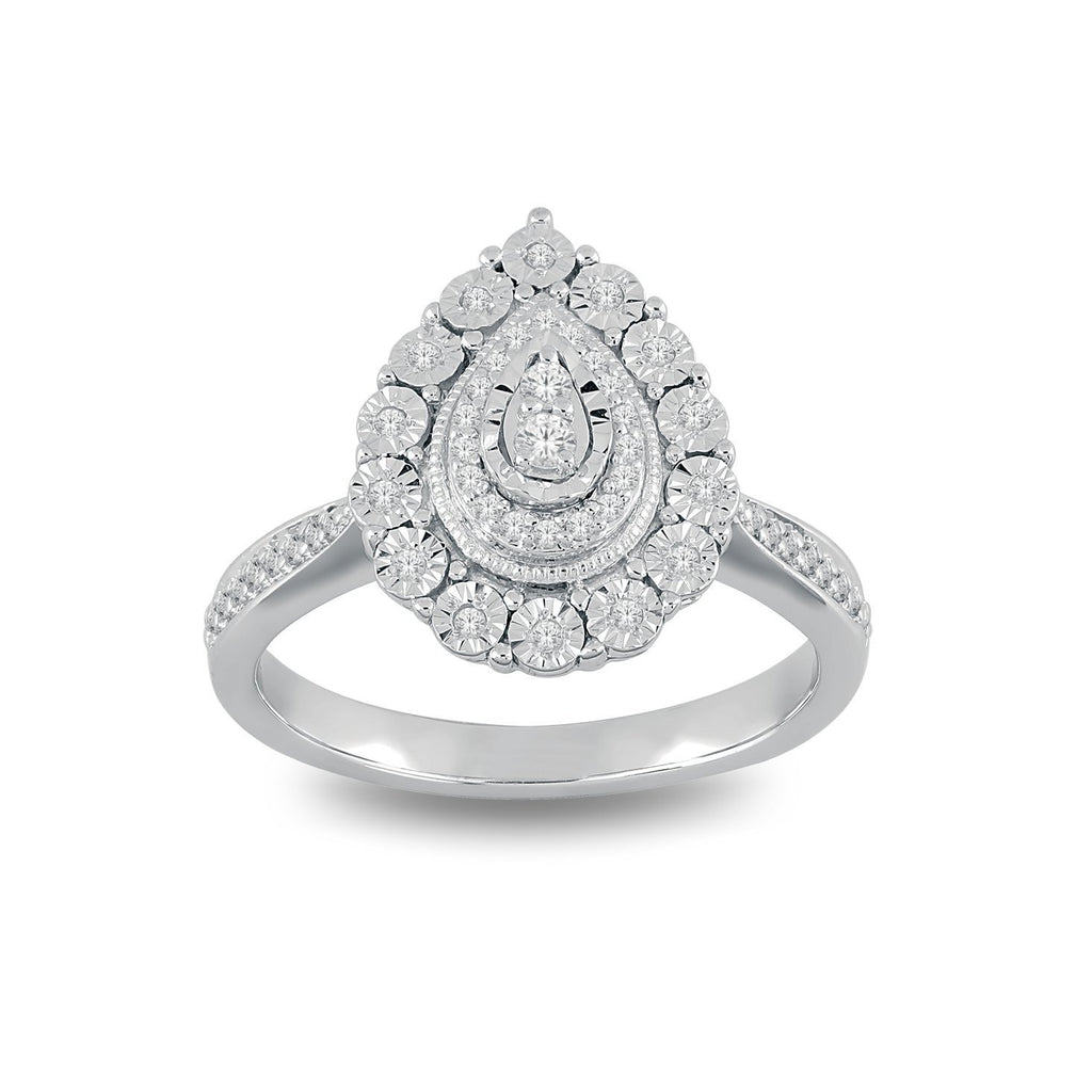 Sterling Silver Pear Shaped Ring with 0.20ct of Diamonds