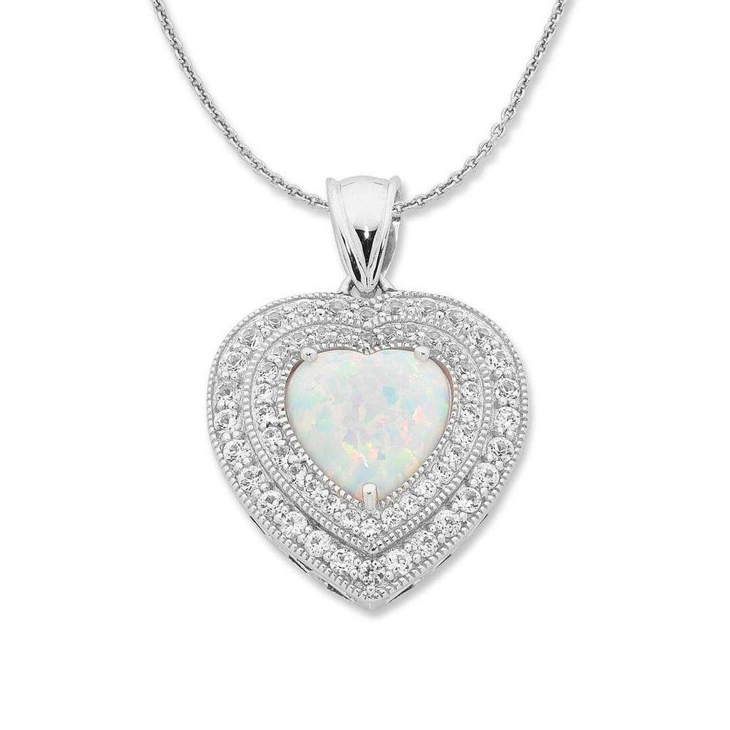 Sterling Silver Created Opal and Created White Sapphire Necklace