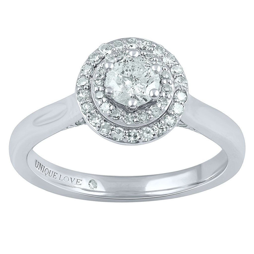 Love by Michelle Beville Double Halo Ring with 1/2ct of Diamonds in 18ct White Gold Rings Bevilles