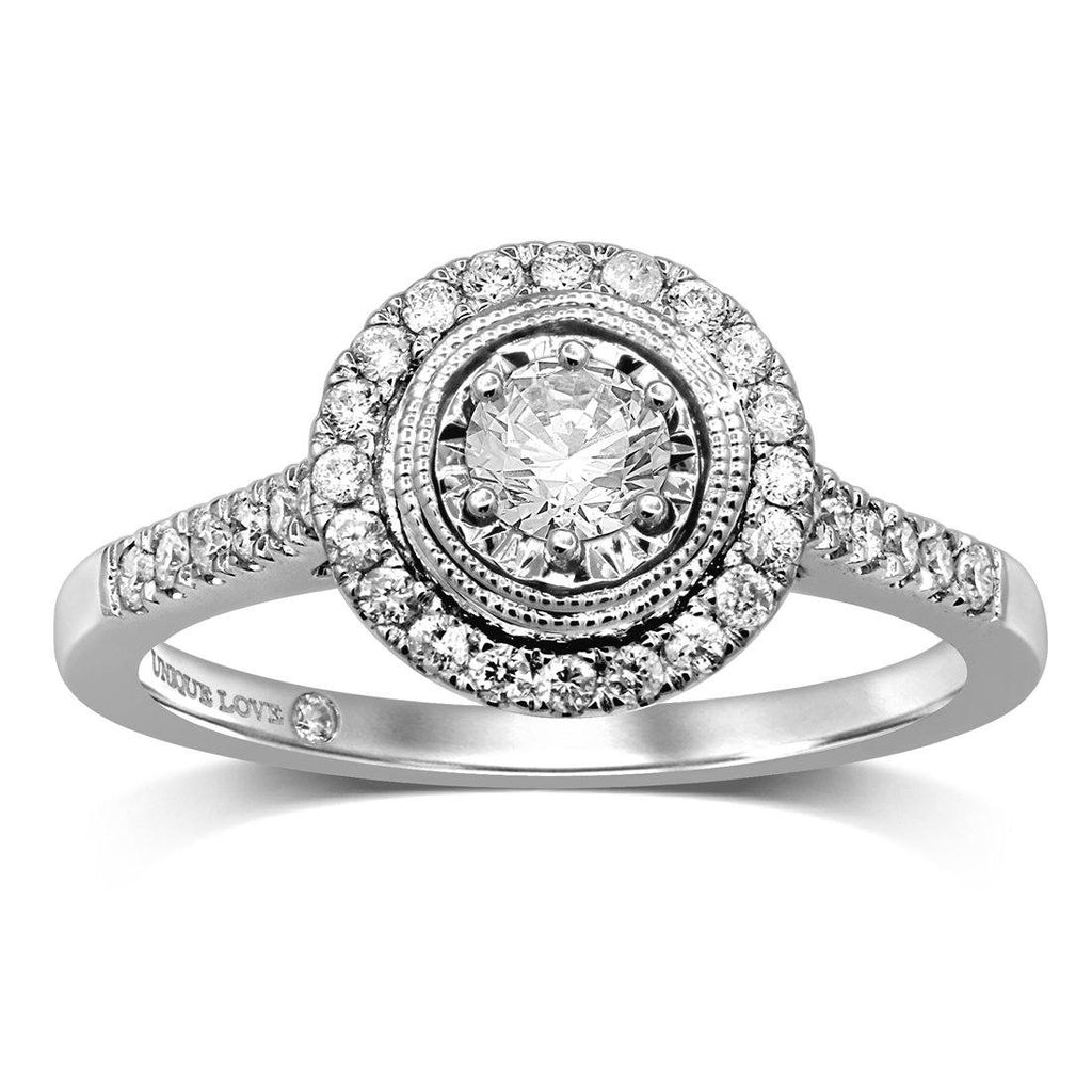 Unique Love Milgrain Solitaire Ring with 1/2ct of Diamonds in 18ct White Gold