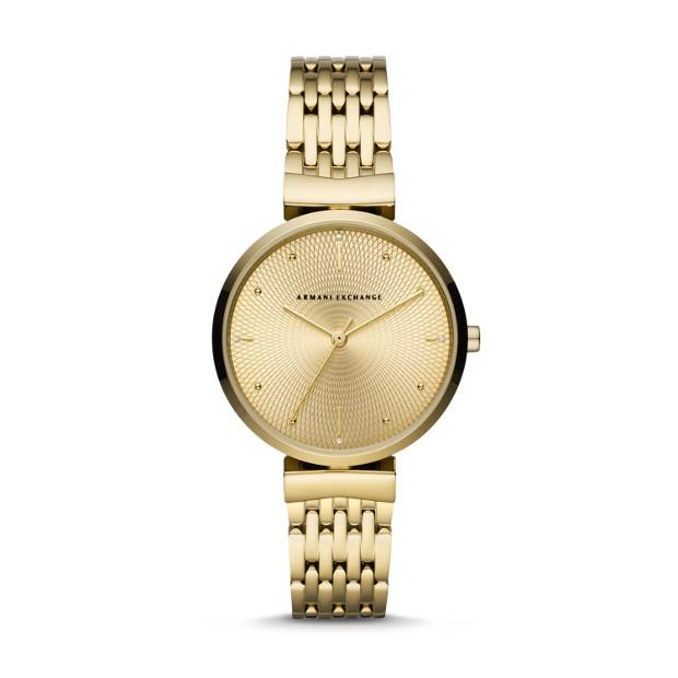 Armani Exchange Gold-Tone Analogue Watch Watches Armani Exchange