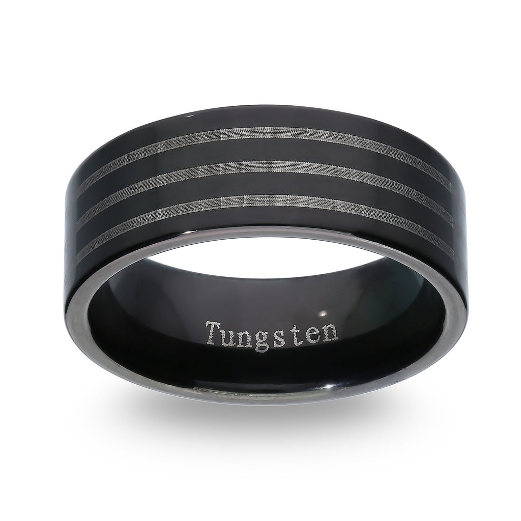 Stanton Made For Men 7mm Tungsten with Black Tunsten Stripes Ring Rings Bevilles