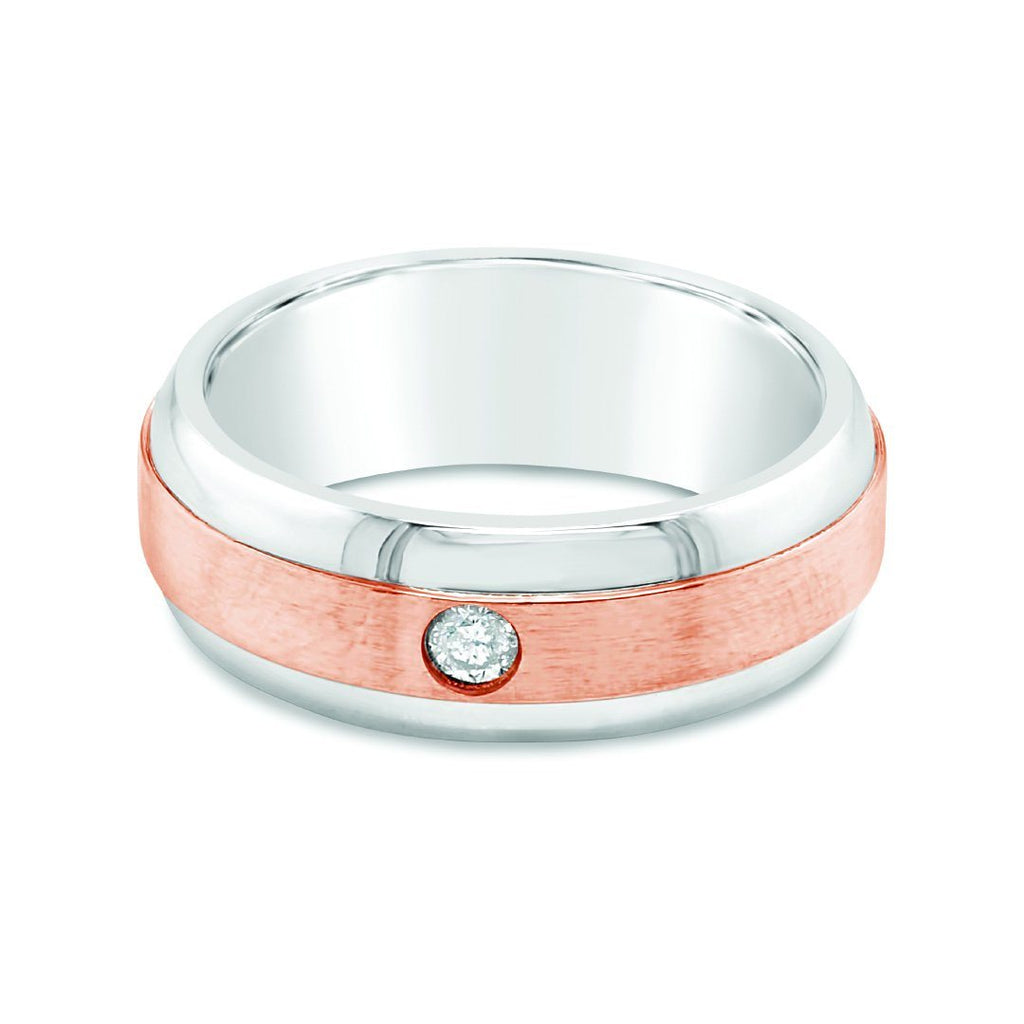 Mens Two Tone Diamond Ring in 9ct Rose Gold & Stainless Steel Rings Bevilles
