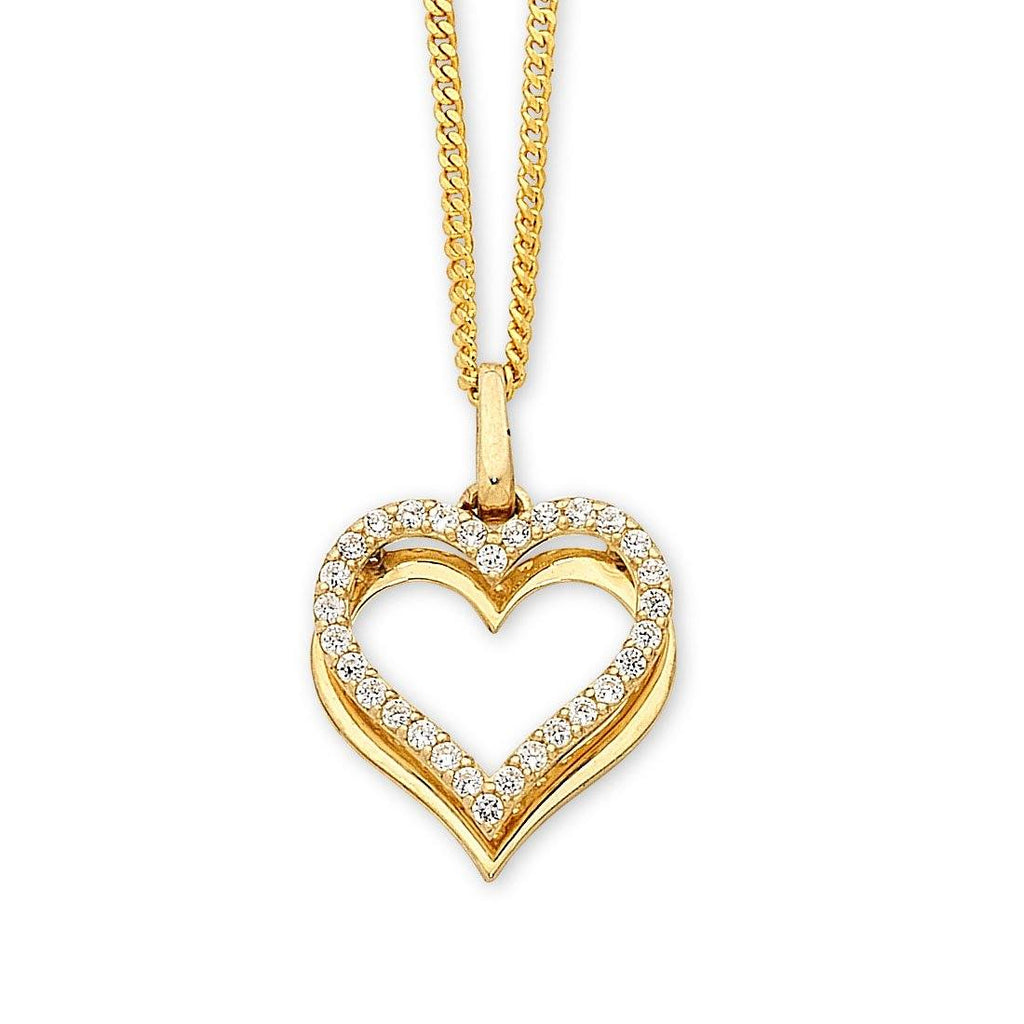 9ct Yellow Gold Cubic Zirconia Heart Necklace Necklaces Bevilles