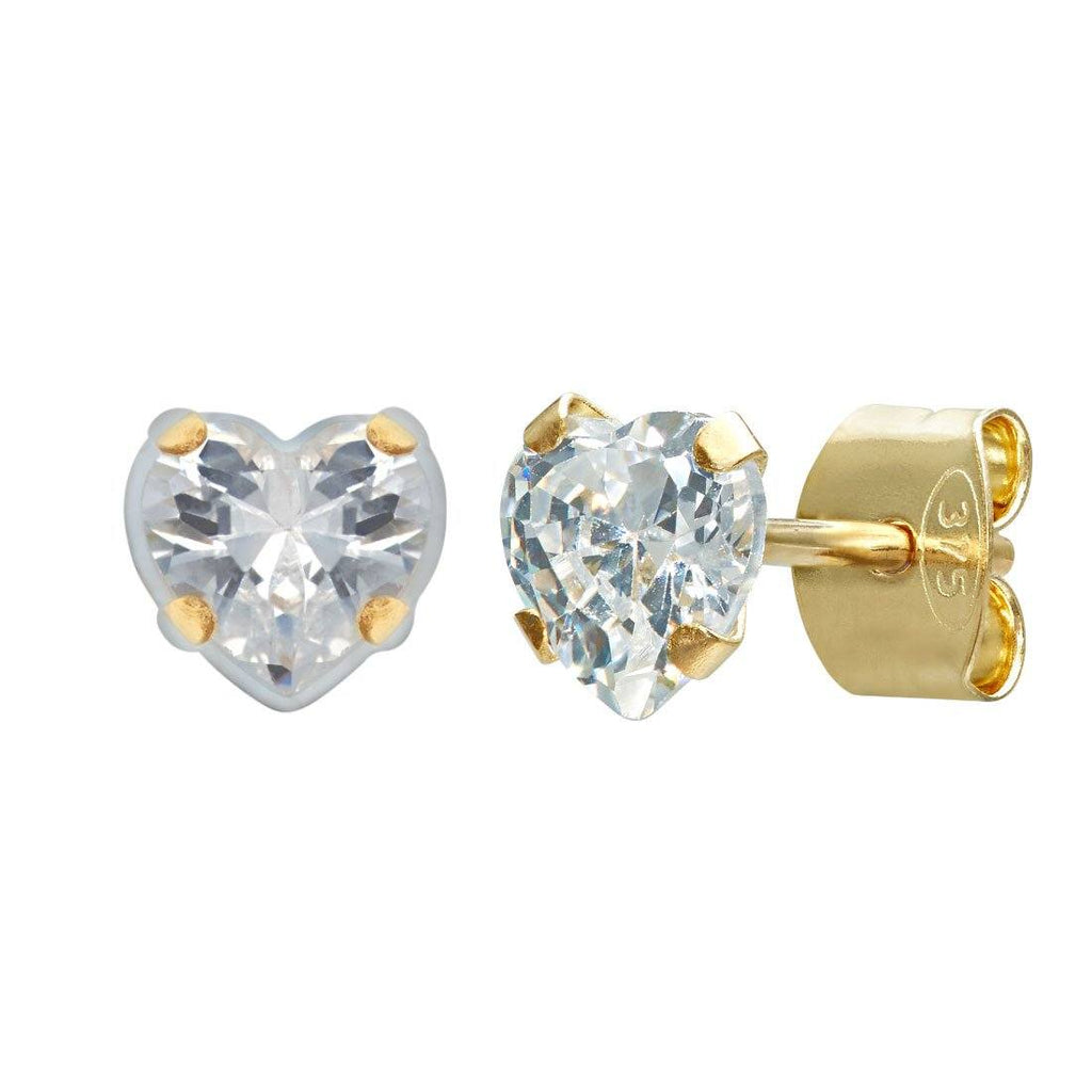 Cubic Zirconia Heart Earrings in 9ct Yellow Gold Earrings Bevilles