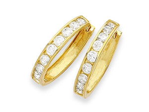 9ct Yellow Gold Cubic Zirconia Channel Set Hoop Earrings- 2mm x 11mm