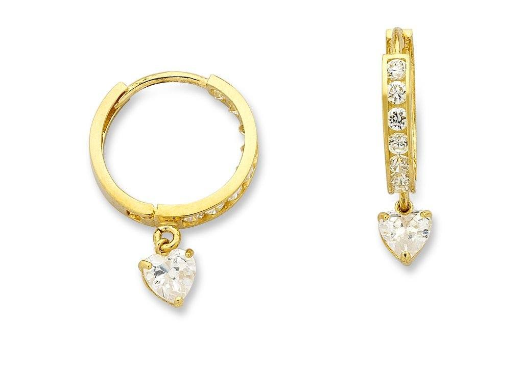 9ct Yellow Gold Heart Drop Hoop Earrings