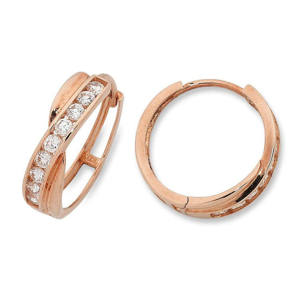 Cubic Zirconia Crossover Hoop Earrings in 9ct Rose Gold Earrings Bevilles