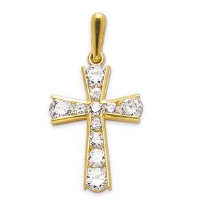 Cubic Zirconia Cross Channel Pendant in 9ct Yellow Gold